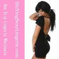 Elegante vestido de noche con encaje de raso negro( lc2461)