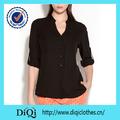 China alibaba mujeres gasa manga larga blusa de cuello v parte superior/gasa vestido de camisa t