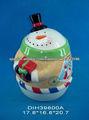 Tarro de galletas con forma de muñeco de nieve de cerámica
