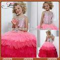 gf003 cabestro vestido de bola dos colores encantadora con cuentas niños vestidos de fiesta desgaste para las niñas