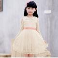 Otoño 2014 en las chicas faldas grandote perforado princesa vestido con mangas largas faldas niños coreanos de encaje