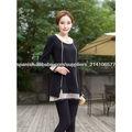 negro falda Irregular de cachemira suéter conjunta / elegante