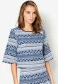 2014 nueva llegada azul& blanco abstracto de impresión jacquard tejido de tapas para las mujeres