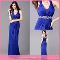 dl665 venta caliente baratos que fluye azul vestido de gasa casual diseños