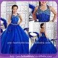 Enfants fille robe 2013 kid organza une ligne halter longueur au sol royal blue diamond filles robe de soirée pour les enfants