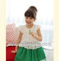 2014 hot vender roupa do miúdo verão vestidos vermelhos/verde voar manga de renda atacado trajes de dança para crianças