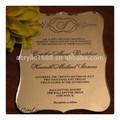 grado superior de lujo de la boda de acrílico de la tarjeta de invitación