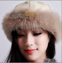 QD5590 Chapeau de fourrure de la peau de porc et du renard fourrure assiette