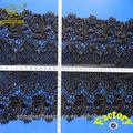 yjc8592 preto quente rendas de algodão guarnição com bordado fantasia desenhos de flores em vestidos