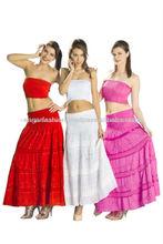 diseñador de las niñas faldas largas de punto de algodón falda de encaje