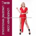estilo de moda v cuello vestido de noche rojo 2014 casual fiesta vestido de noche