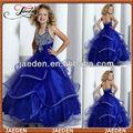 gf004 cabestro vestido de bola con hermosa cuentas vestidos de flores niña azul real