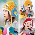 Chapéus das crianças para meninas e meninos, moda inverno quente malha lindo bebê bonito proteger orelha tampa gorros 7389