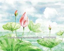 belle peinture murale d'impression de papier peint de lotus sur mesure pour le salon