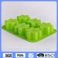 la fábrica de china de alta qulaity 6 tazas de silicona copo de nieve pasteldemolde