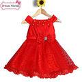 mais recentes modelos de vestido para as meninas da flor vermelha e branco vestidos de casamento de menina de novo modelo 2014