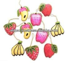 Contas de vidro frutas x-mas pendurados, enfeites de natal& enfeites para árvore de natal