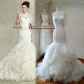 2013 люксовый бренд складками органзы конструкция сборок русалки Свадебные платья Китай