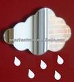 corte a laser de nuvens parede de espelho para o berçário sala