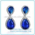 en forma de lágrima pendientes señoras diseños de imágenes con el rodio plateado azul zafiro diamante cz