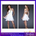 2014 Nuevo diseño corto Backless Blanco Prom fiesta de cumpleaños del vestido de los vestidos de coctel baratos