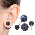 Aretes de zafiro azul, de oro joyería de la piedra preciosa, pendientes de la moda de joyería, espinela negro pendientes de bola
