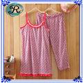 Chicas impresos personalizados CVC Single Jersey Top Y Knit Pant Intimates pijama conjunto fabricante Fábrica