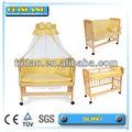 las mejores ventas de bebé cuna de madera cama de bebé con ruedas