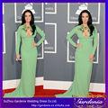 sexy de color verde esmeralda de manga larga con cuentas de colores de gasa vestidos de celebridades para la venta