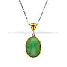 venta al por mayor más nuevo hecho a mano jadeíta verde piedra joyería turco 925 colgante de plata esterlina