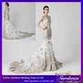 nuevo diseño de lujo flor hecha a mano apliques sirena cuello alto larga cola de organza vestido de novia( wd054)