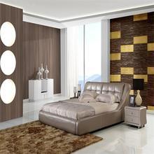 De alta calidad de cuero moderno de la cama y la parte superior de la cama de venta lk-1345b