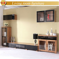 living room furniture walnut TV cabinet and coffee table