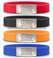 venta al por mayor de silicona personalizadas de alerta médica brazalete de identificación