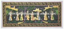 decoración de la pared radha kirshan diseño en miniatura pintura étnica de seda en decoración para el hogar de arte
