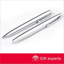 2014 quente vender marca exclusiva de metal prateado brilhante de caneta esferográfica de cor