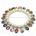 Rosario religioso pulseras, un lado de epoxy católica medalla de la figura de las imágenes, artificial de la perla pulsera
