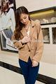 2014 más reciente de la moda las mujeres abrigo corto modelo, las mujeres trinchera abrigo hebillas de nylon con cordón