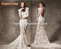 nu à manches longues élégante robe de mariée en queue de poisson l'image réelle de conception de dentelle robe de soirée modèle