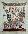 Pinturas egipcias de papiro, tut verter el perfume en su esposa 2 de palma
