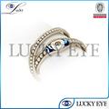 Anillos de mal de ojo anillo de metal 2014 compromiso barato granos cristalinos de la manera para las mujeres al por mayor