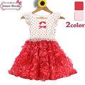 2014 de verano de moda de manga corta de europa los niños rosa vestido de cenicienta vestidos para niñas