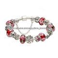 Red copo de nieve de cristal de murano perlas de plata del encanto pulsera plateada de las mujeres niñas