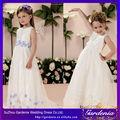 Sin mangas de tul un- línea de longitud completa de la princesa flores decoradas indios vestidos de fiesta para los niños