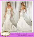 2014 Nova Designer elegante e simples botão Querida Sereia Voltar chão frisada corpete vestido de noiva de cetim (MN1529)
