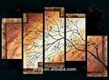 El hermoso paisaje del árbol 100% grupo hechos a mano de pintura al óleo pl-474