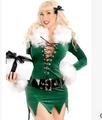 verde santa sexy cinturón de papel jugando traje de navidad
