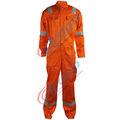 hi vis de color naranja de algodón fr sobretodo con cintas reflectantes para los bomberos