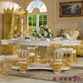 Francés muebles de estilo de tabla-trabajo hecho a mano papel de aluminio dorado realeza juego de come