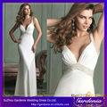 blanco color de la vaina sexy espalda abierta sin mangas con cuentas vestidos para niñas nuevo modelo 2014 vestido de novia